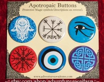 Apotropaic Pinback Button Set - pins badges protective protection hamsa vegvisir eye of horus helm of awe nazar celtic shield knot charm