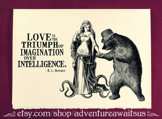 Greeting card - Love is the triumph of imagination over intellingence - Victorian illustration lady tentacles bear top hat flowers