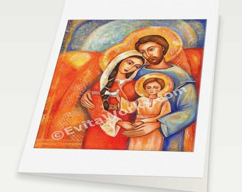 Nativity Holy Family Joseph Mary Child Baby Jesus Religious painting Christian folk art, mother woman card, woman card, 6x8