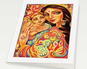 mother and child art motherhood art mothers love goddess painting Indian woman art, mother woman card, woman card, 6x8