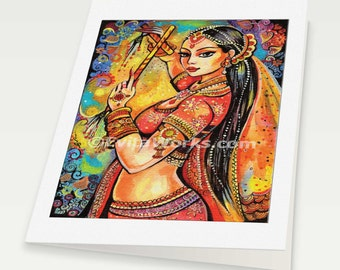 beautiful Indian woman painting Indian decor feminine beauty bollywood dance, Indian woman card, woman card, blank art card, 6x8