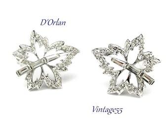 Earrings D'Orlan Rhinestone Maple Leaf