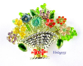 Flower Basket Brooch Enamel