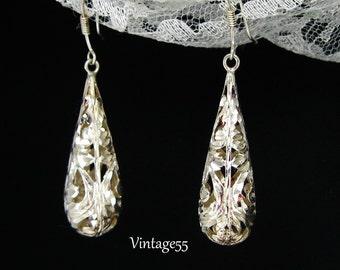 Earrings Sterling Filigree Diamond Cut Pierced Wire