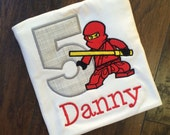 Boys Ninjago Birthday Shirt Red and gray with personalization