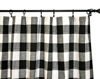 "Pair of Buffalo Check Curtain Panels - Anderson Black and White - Country Home - Large Gingham   25"" or 50""  wide - You choose length"