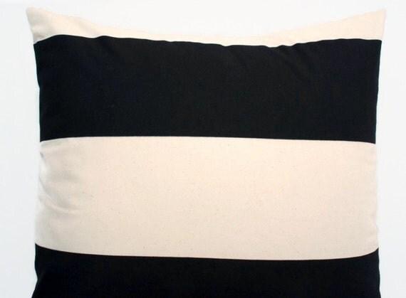 Euro Sham Black Cream Ivory Large Pillow Cover Premier