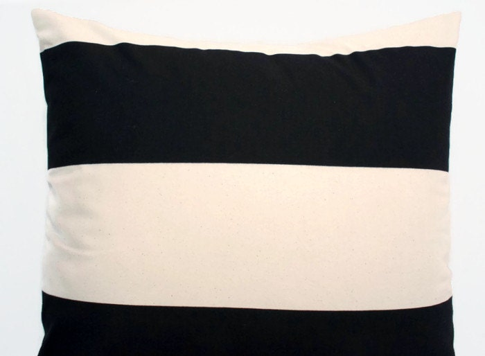 Euro Sham Black Cream Ivory Large Pillow Cover Premier