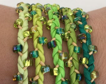 DIY Silk Wrap Bracelet or Silk Cord Kit DIY Craft Kit You Make Five Adult Friendship Bracelets in Vibrant Greens Palette