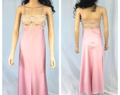 Vintage Rose Pink Long Night Gown. Beige Lace Accents. Eve Stillman. X-Small. 1970s Lingerie. Sexy Pink Nightgown. Under 25 Sleepwear.