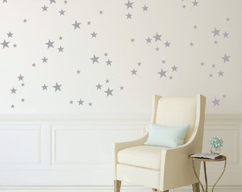 Star wall pattern with 3 star sizes, set of 82 stars DB395