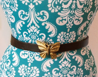 vintage 1980's belt // gold  butterfly buckle // skinny 80's boho belt