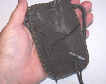 Leather Medicine Bag...GREY