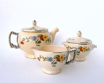 Vintage Leigh Ware Tea Set: 1930s Art Deco Tea Pot, Creamer, Sugar Set by Leigh Potters - Retro Shabby Chic 'Springtime' Floral Design