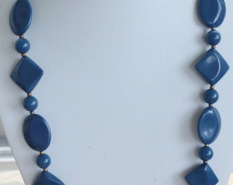 """On sale Pretty Vintage Slate Blue Lucite Beaded Necklace, Gold tone, 26"""" (AN8)"""