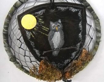 Moonlight Owl Dream Catcher, Owl Totem Wall Hanging