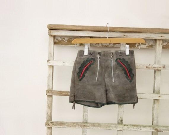 Vintage Lederhosen Boys Lederhosen 1960s Suede Shorts Boys Age 6 to 7