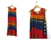 90s SunDress Colorful maxi Tent Frock Hippie festival dress long Resort Vaction sun dress Crinkle Rayon Women's Size Medium