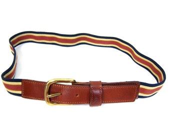 80s FRYE Leather Belt Striped Elastic Preppy Belt Hipster Belt Brass Gold Buckle Prep Mens Womens 1990s FRYE Belt Belt Size 34