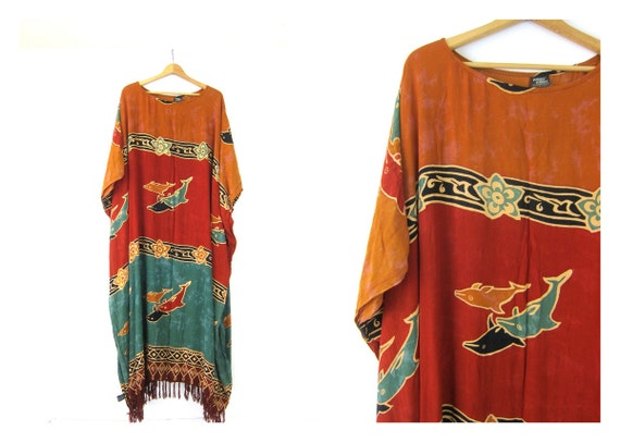Vintage caftan dress Loose fit maxi Turquoise Orange Dolphin Fish Print Dress Vacation Resort wear Lounge beach Tent Dress Size