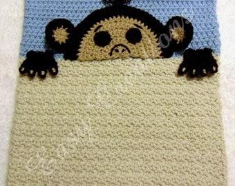 PDF CROCHET PATTERN Peek-a-Monkey, Monkey Pajama Pillow, boy Pj bag, girl Pj pillow, Pj animal pillow, pet Pj bag