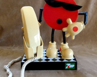 Vintage Retro Old fashion 7 UP  ADVERTISING Phone Telephone Lucite working