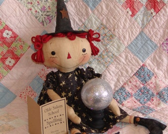 Primitive witch with Gazing ball pattern, Primitive cloth doll pattern, Halloween Decor, HFTH195