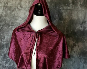 Hooded Caplet In Burgundy Plum Crushed Velvet Panne, Renaissance Costume, Medieval, Fantasy, Elf Garb Shoulder Cape, Caplet SCA LARP Bridal