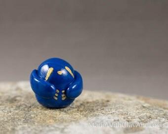 Little Sloth - Cobalt Blue And Gold - Miniature Terrarium Figurine - Hand Sculpted Miniature Polymer Clay Animal