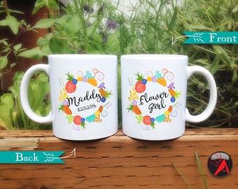 Flower Girl Mug, Personalized Flower Girl Gift, Bridal Party Mug, Flower Girl Gift, Flower Girl Cup, Cute Mug, Succulent Wreath, Flower Girl