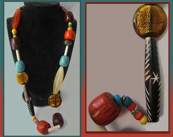 MIX it Up-Marni Style Colorful Resin/Horn/Metal Bead Necklace,Summer Brights,Beach,Vintage Jewelry,Women