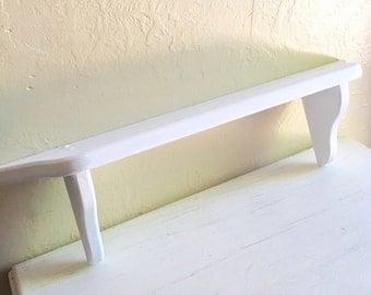 Farmhouse Style Whitewashed White Wood Wall Shelf - Ready to Hang