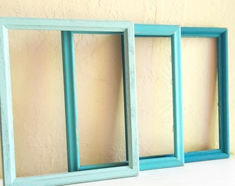 Shabby Chic Turquoise Blue Teal Aqua Light Dark Wooden Picture Frames 8x10 Inches 3 Three