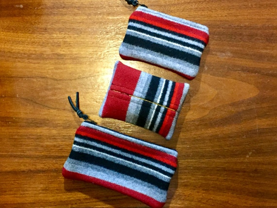 Purse Organizer Set of 3 / Gift Set / Wool Black, Maroon & Grey Serape Stripes