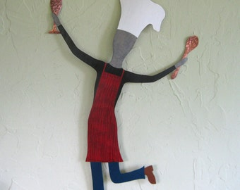 Metal Wall Art Chef Sculpture Culinary Wall Art Dancing Male Chef Recycled Metal Kitchen Wall Decor Red Indoor Outdoor Black 15 x 22