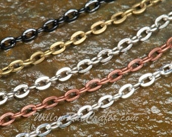 """15 Metal Necklace Oval Chain  24"""" in Silver, Antique Copper, Black, Antique SIlver and Antique Bronze"""