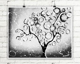 Gray Tree Print, Black and White Art, Whimsical Tree of Life Wall Art, Woodland Wall Decor, Signed Print