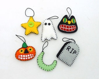 Wool Felt Halloween Ornaments - Set of 6