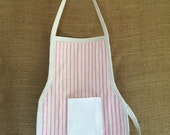 Toddler Apron (Montessori Style,Velcro closure, stripes with pocket cotton duck backing)
