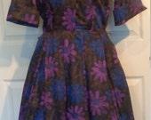 Vintage 50s Purple Blue Floral Shirt Waist Dress Side Zipper B38 Pat Perkins