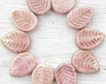 17x12mm Opaque Light Pink Lumi Luster Czech Glass Leaf Beads - Qty 10 (BS62)