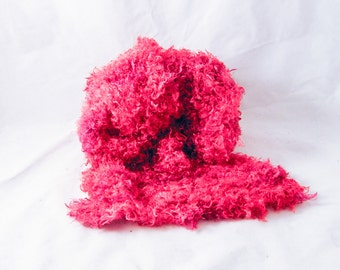 Muppet  hand knit silk scarf OOAK