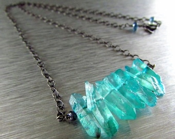 End Of Summer Sale Aqua Quartz Crystal And Sterling Silver Bar Necklace