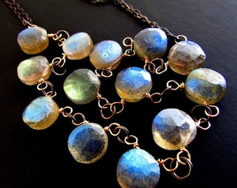 20 % Off Labradorite and Oxidized Sterling Necklace