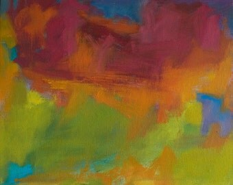 Red December, original abstract painting 20 x 24 Abstract red, orange, yellow, acid green, cobalt