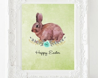 Happy Easter print instant download easter printable Easter decor bunny printable Easter wall art Easter sign happy Easter art Easter poster