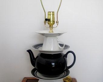 Vintage Teapot Lamp, Navy and White Lamp, Repurposed Lamp