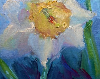 """Impressionist Daffodil Painting, Flower Painting, Floral Painting, 6x8"""" Oil on canvas panel"""