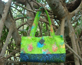 Lime Green Sea Turtle Quilted Bag Purse Tote