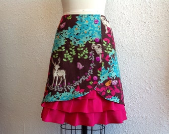 Enchanted Forest ruffle front skirt Sz 4